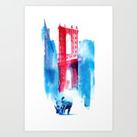 bridge Art Prints featuring Manhattan bridge by Robert Farkas