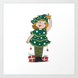 Christmas tree Girl Art Print