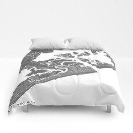 Atlantic City Modern Map Art Print Comforters
