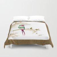 hummingbird Duvet Covers featuring hummingbird by Ariadne