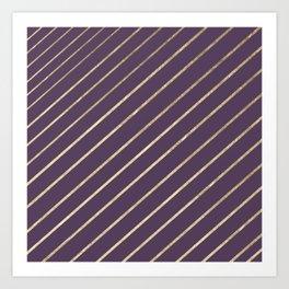 Elegant faux gold purple modern geometrical Art Print