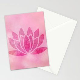 Zen Watercolor Lotus Flower Yoga Symbol Stationery Cards