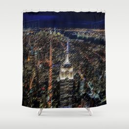 Empire State Building NYC Skyline Landscape Painting by Jeanpaul Ferro Shower Curtain