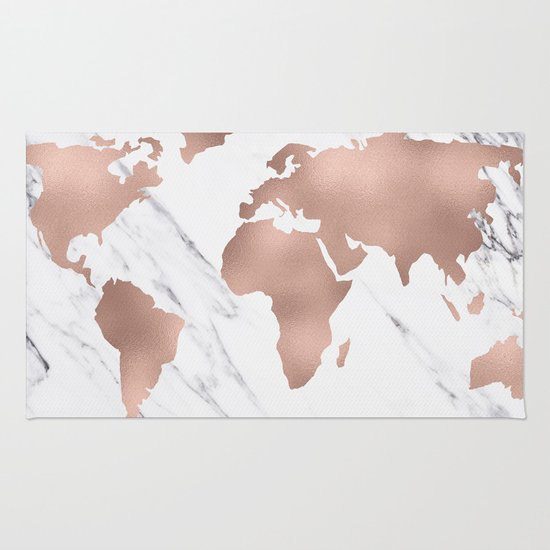 Black And White World Map Rug: Marble World Map Rose Gold Pink Rug By MapMaker