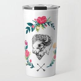 Floral Bison Travel Mug