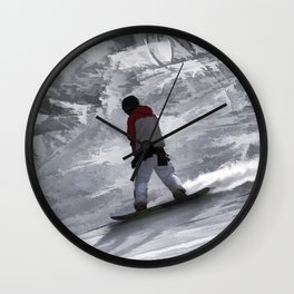 "Snowboarder ""just cruisin'"" Winter Sports Gift Wall Clock"