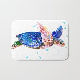 Sea Turtle, blue rainbow Bath Mat