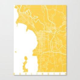 Burlington map yellow Canvas Print