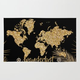 world map gold black Rug