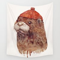 otter Wall Tapestries featuring River Otter by Animal Crew
