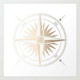 Gold on White Compass Art Print