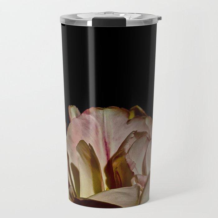 Bright Pink Tulip On Black Travel Mug