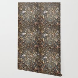Golden Brown Carved Tooled Leather Wallpaper