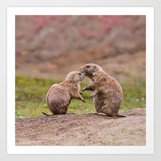 Cute little prairie dogs love Art Print