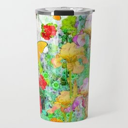 YELLOW IRIS BUTTERFLY SPRING GARDEN BURGUNDY TRIM Travel Mug