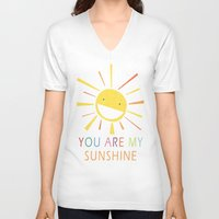 you are my sunshine V-neck T-shirts featuring You Are My Sunshine by Lisa Jayne Murray - Illustration