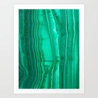 malachite Art Prints featuring Malachite Stone by BrooklynThread