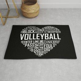 Love Volleyball Heart Rug