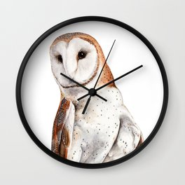 Barn Owl Watercolor Wall Clock