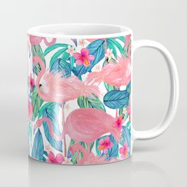 Tropical Flamingo Watercolor Floral Coffee Mug