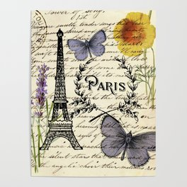 french botanical print purple butterfly lavender floral paris eiffel tower Poster