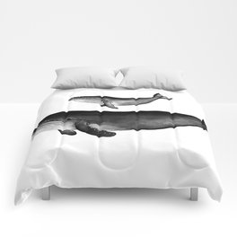 Whales, black and white Comforters