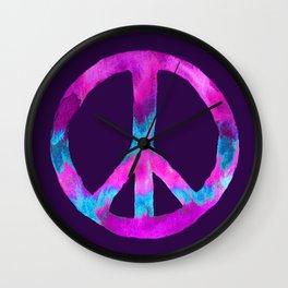 Purple Turquoise Watercolor Tie Dye Peace Sign on Purple Wall Clock