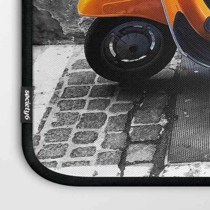 Orange Vespa in Bologna Black and White Photography Laptop Sleeve