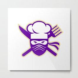 Ninja Chef Crossed Knife Fork Icon Metal Print