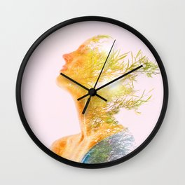 Multiple Exposure of woman and nature Wall Clock