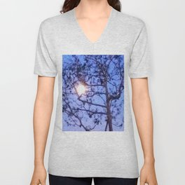 Early Morning Moon and Blue Sky Unisex V-Neck