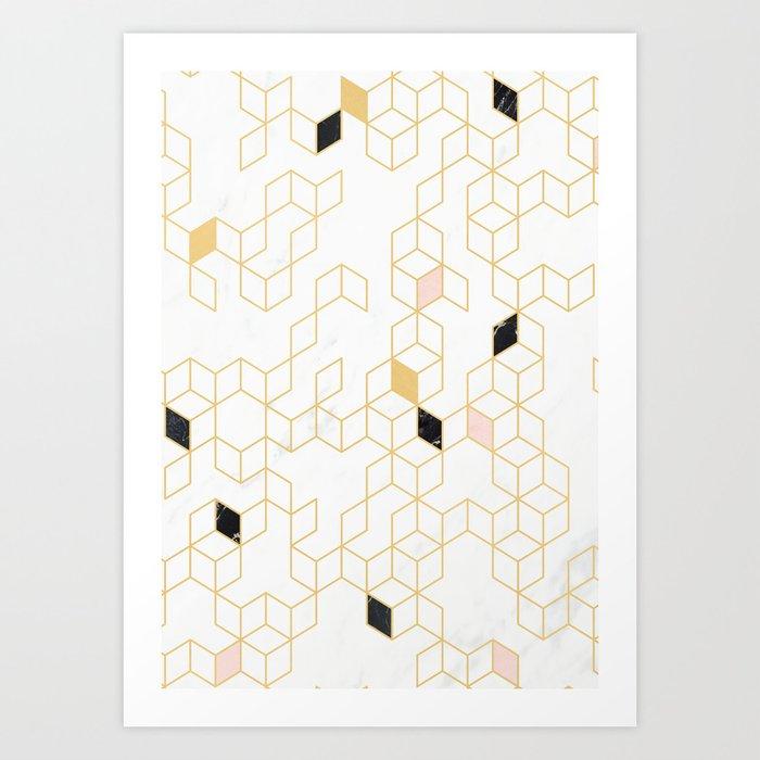 Keziah - Gold & Marble Art Print