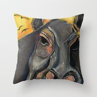 hippo Throw Pillows featuring Hippo by Amy Wicherski