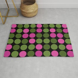 Pink and olive polka dots on black bubbles circles retro vintage Rug