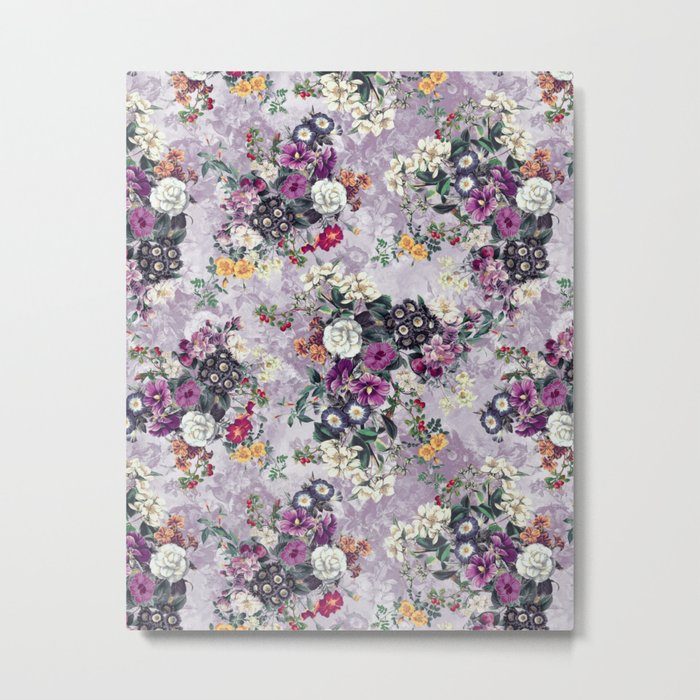 Botanical Flowers Purple Metal Print