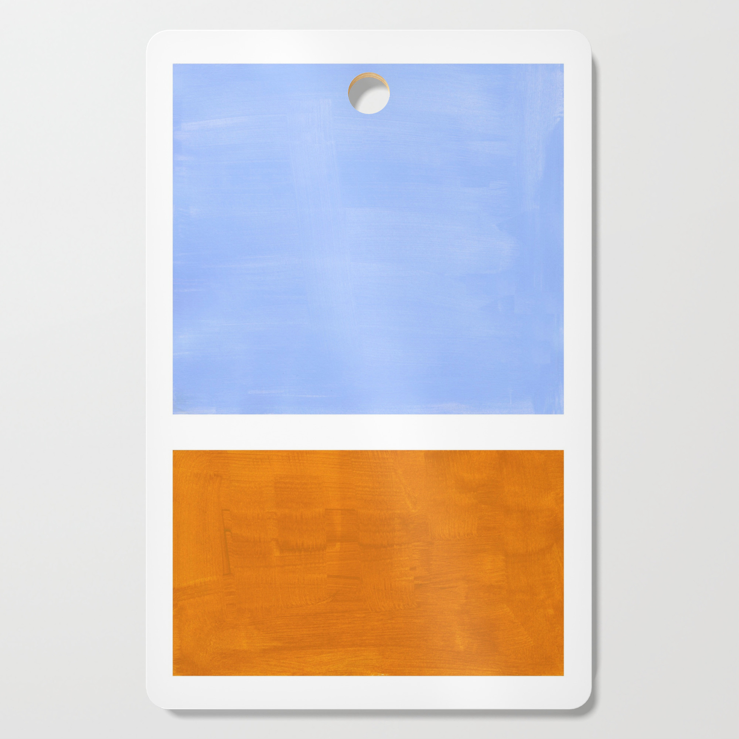 Pastel Royal Blue Yellow ochre Mid Century Modern Abstract Minimalist  Rothko Color Field Squares Cutting Board by enshape