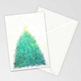 O Green Sparkly Festive Christmas Tree Stationery Cards
