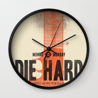 die hard Wall Clocks featuring Die Hard (Full poster variant) by Wharton