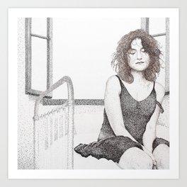 closed eyes - woman dotwork portrait Art Print