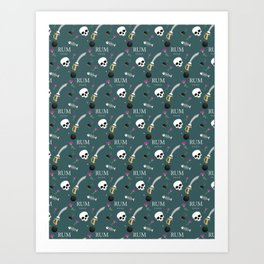 """Rum xoxo""Pirate pattern(dusty teal) Art Print"