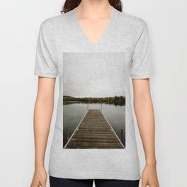 PHOTO - OF - EMPTY - WOODEN - DOCK - OVER - TRANQUIL - LAKE - PHOTOGRAPHY Unisex V-Neck
