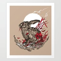 hare Art Prints featuring Hare by Rachael Smart
