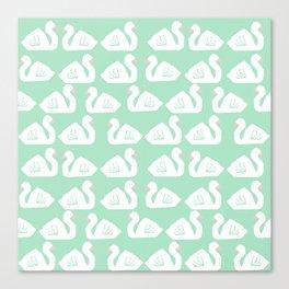 Swan minimal pattern print mint and white bird illustration swans nursery decor Canvas Print