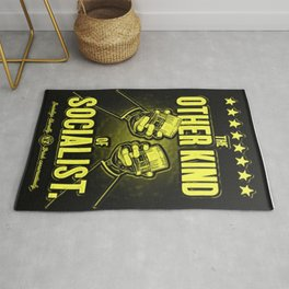 """Vintage Poster """"The Other Kind of Socialist"""" Alcoholic Lithograph Advertisement in lemon yellow Rug"""