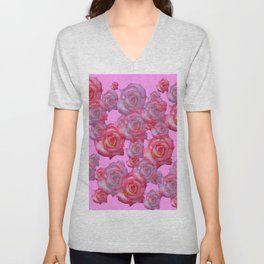 COLLAGE  ARRANGEMENT OF PINK ROSES GARDEN ART Unisex V-Neck