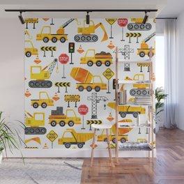 Watercolor Construction Vehicles Wall Mural