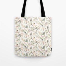 Dainty Intricate Pastel Floral Pattern Tote Bag