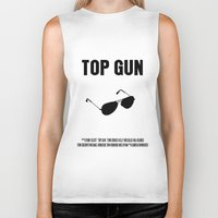 top gun Biker Tanks featuring Top Gun Movie Poster by FunnyFaceArt