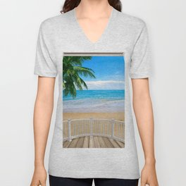 Balcony with a Beach Ocean View Unisex V-Neck