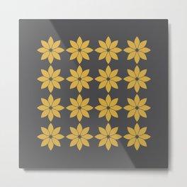 Minimalist Flowers Pattern (Charcoal Black, Spicy Mustard) Metal Print